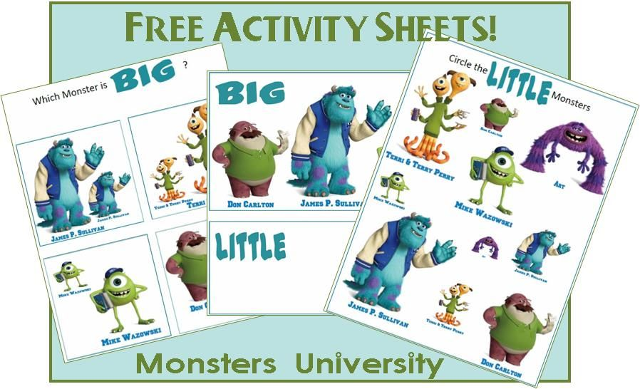 Big and Little Worksheet: Monsters University Printables ...