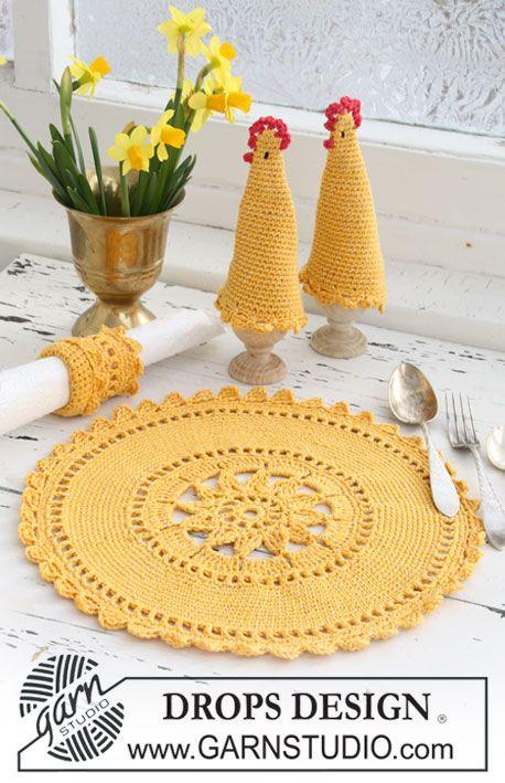 Set comprises: Crochet DROPS place mat, egg warmer and serviette ...