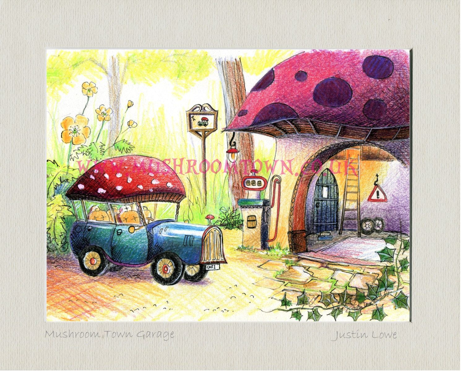 Items Similar To Mushroom Town Garage Signed Titled Mounted Print 10 X 8 Inch Self Frame On Etsy Fairy Coloring Stuffed Mushrooms Cool Art