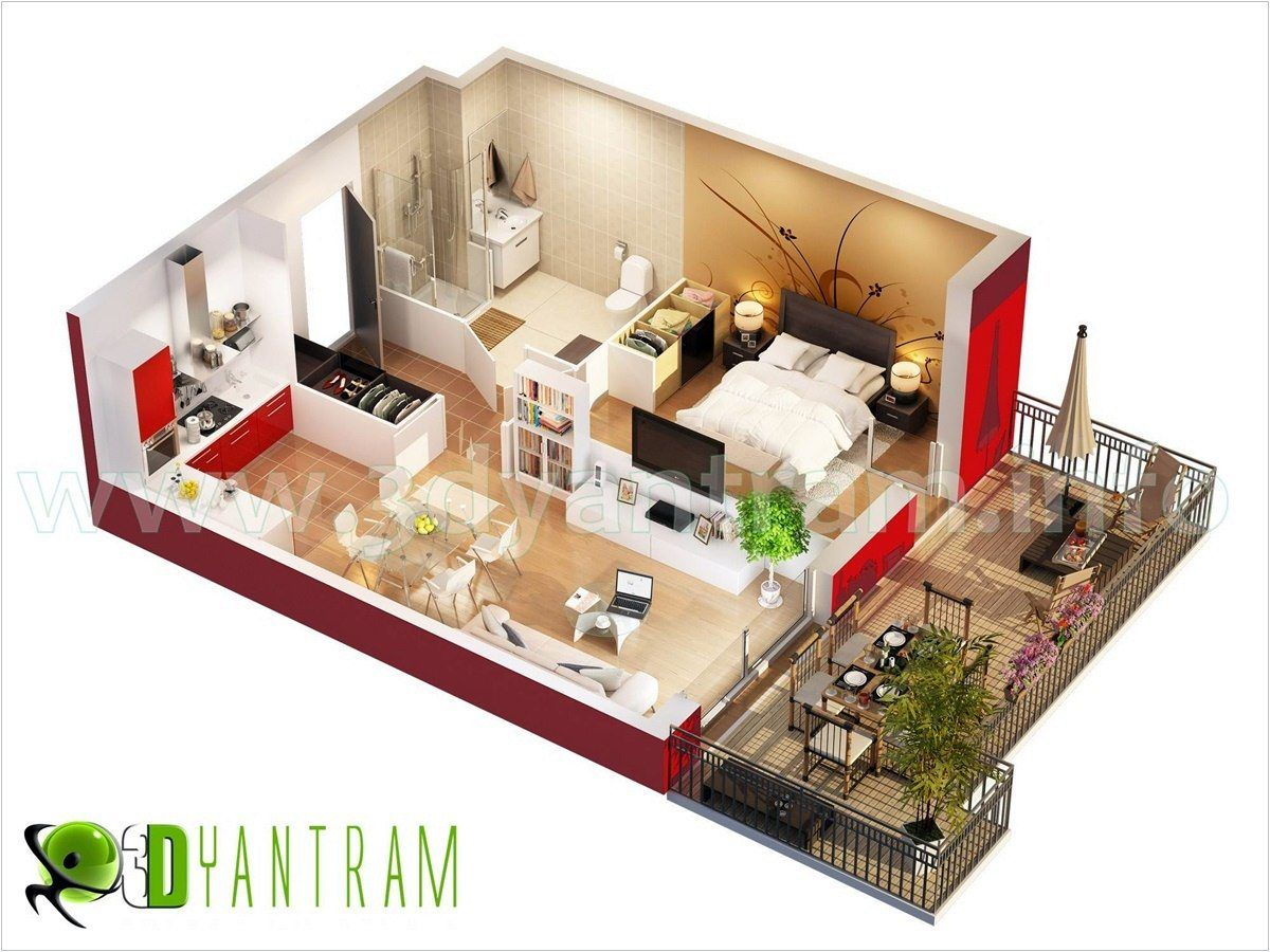 Apartments Wonderful Medium Studio Apartment Floor Plan With Balcony And Umbrella Gazebo Picture A Part Of Terrific Studio Apartment Floor Plans