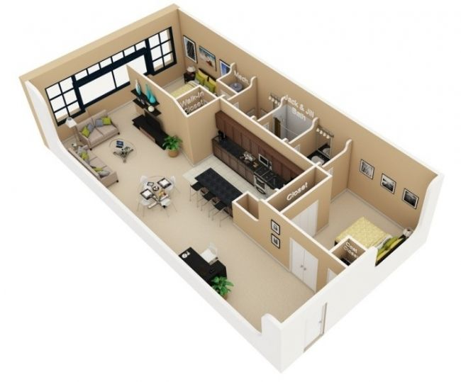 50 Plans 3D D'Appartement Avec 2 Chambres | 3D, 50Th And Tiny Houses