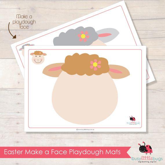 Easter Make A Face Playdough Mats Lambs Playdough