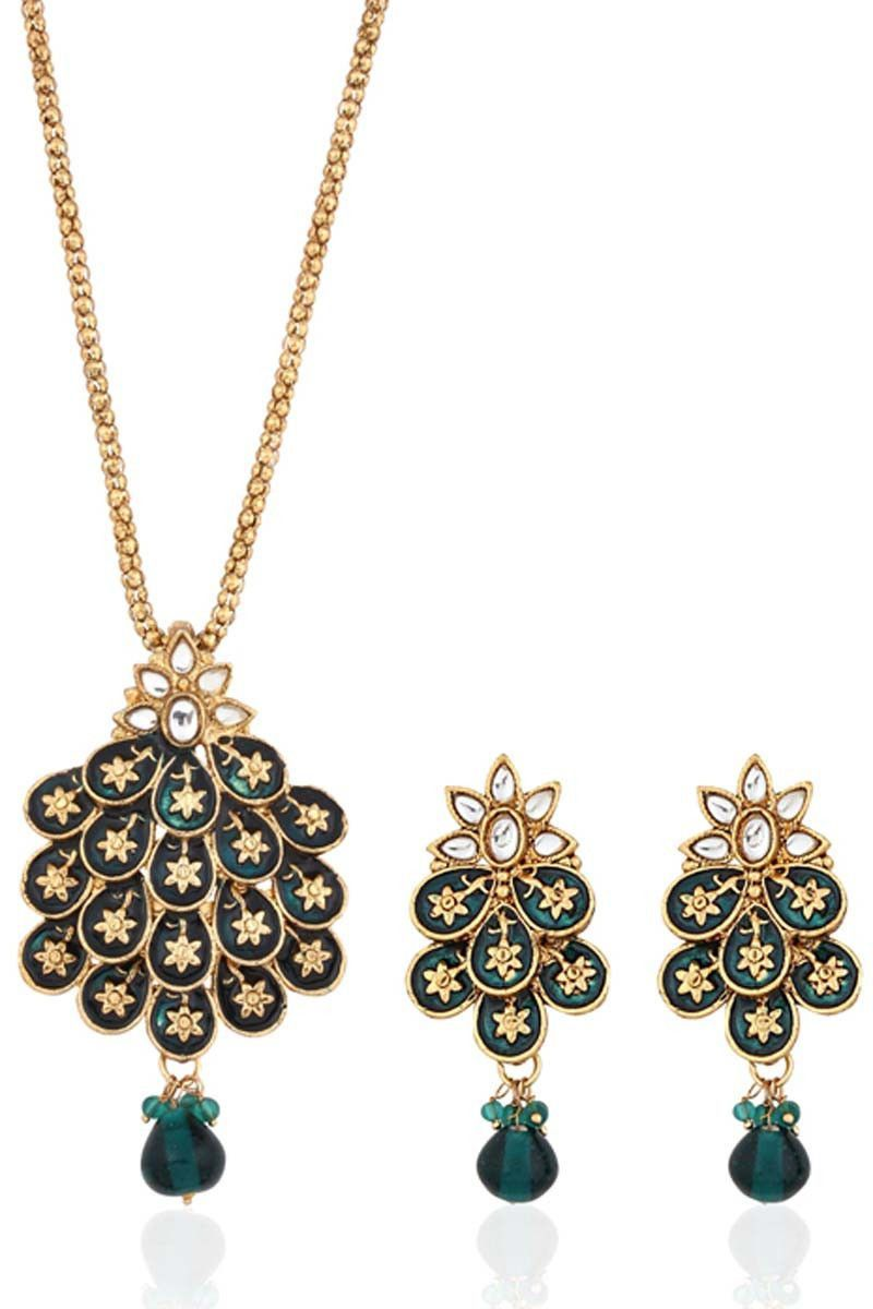 Green gold plated pendant set products pinterest pendant set