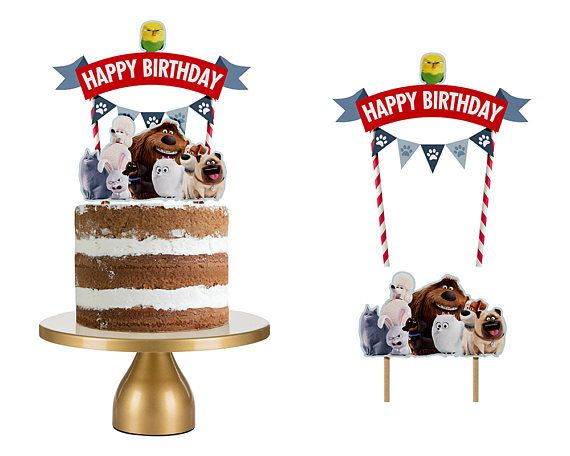 Secret Life Of Pets Cake Topper Secret Life Of Pets Cake Animal Cake Topper 1 Year Old Birthday Party Movie Birthday Party