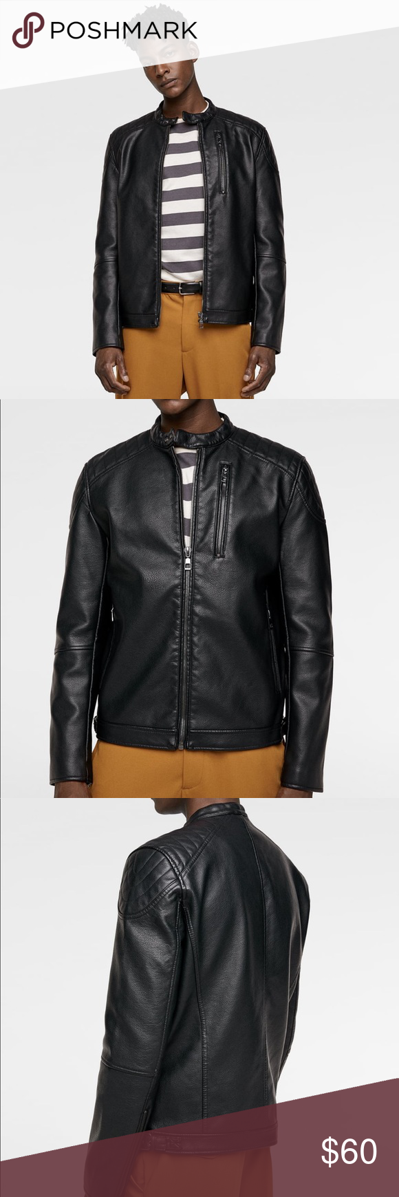 Leather Jacket Quilted Shoulders Faux Leather Jacket With Round Neck With Snap Button Closure Long Sleeves With Qu Leather Jacket Jackets Faux Leather Jackets [ 1740 x 580 Pixel ]