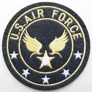 画像1: ミリタリーワッペン U.S.Air Force エアフォース アメリカ空軍(ブラック/ラウンド) (1)