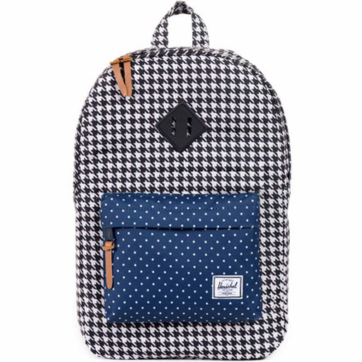 50887aa1c9 Herschel Heritage Poly Backpack (Houndstooth Navy Polka Dot)  54.95 ...