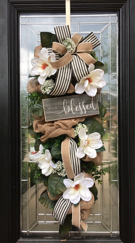 44 Xxl Magnolia Swag Farmhouse Style Magnolia Wreath Year Around Wreath Blessed Wreath Southern Living Decor Door Wreaths Diy Wreath Decor Large Wreath