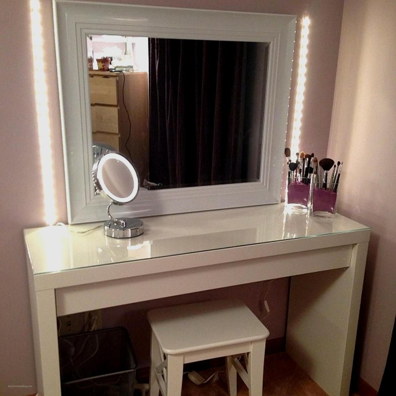 bedroom vanity set with lights around mirror 14  bedroom