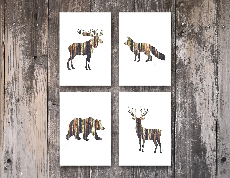 Stag Deer Bear Fox Moose Rustic Prints Set Of 4 Rustic Animal Etsy Woodland Animal Wall Art Scandi Art Animal Wall Art