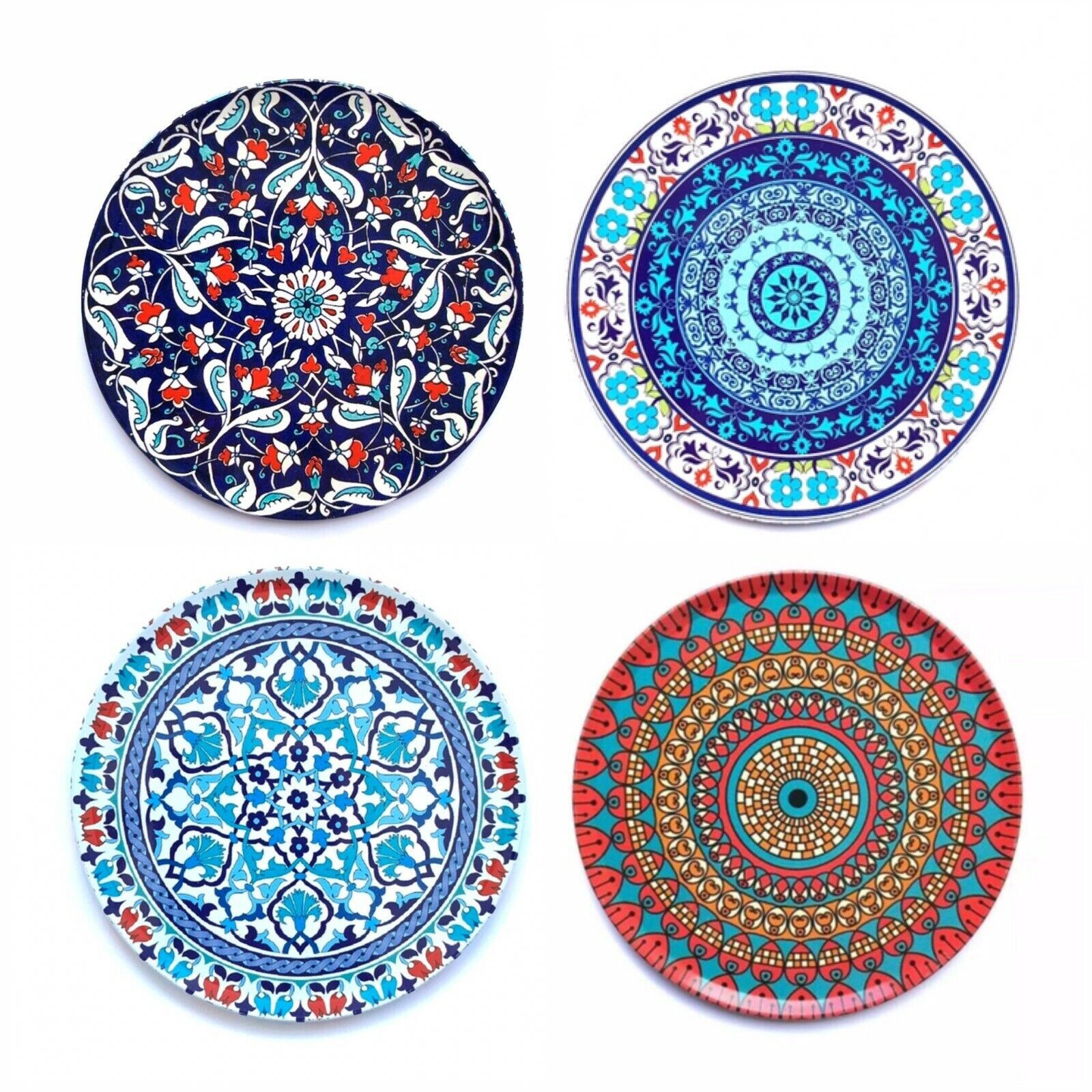 Set Of 4 Premium Mandala Coasters Decorative Coasters For Glass Cups Vases Candles On Dining Table Tin Cork Coasters Christmas Gift Cork Coasters Coasters Christmas Gift Items