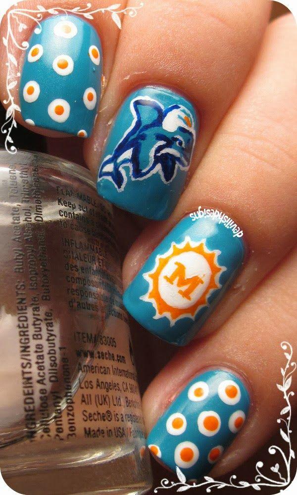 devilishdesigns: Miami Dolphins #nail #nails #nailart | Beauty ...