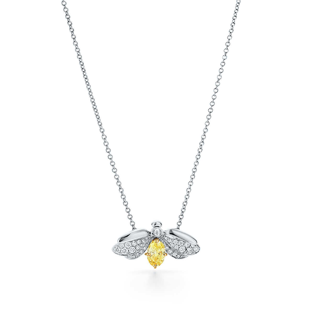 Tiffany Paper Flowers Yellow Diamond Firefly Pendant In Platinum