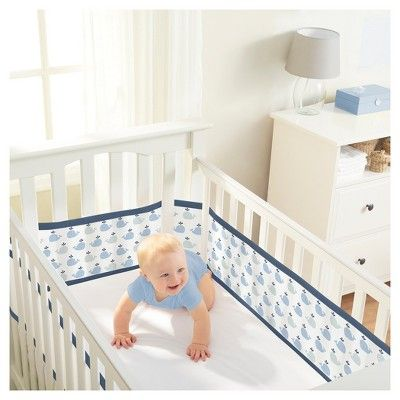 Breathablebaby Mesh Crib Liner Little Whale Navy