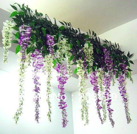 S Bouquet 3 Twigs Artificial Wisteria Flowers Leaves Vines