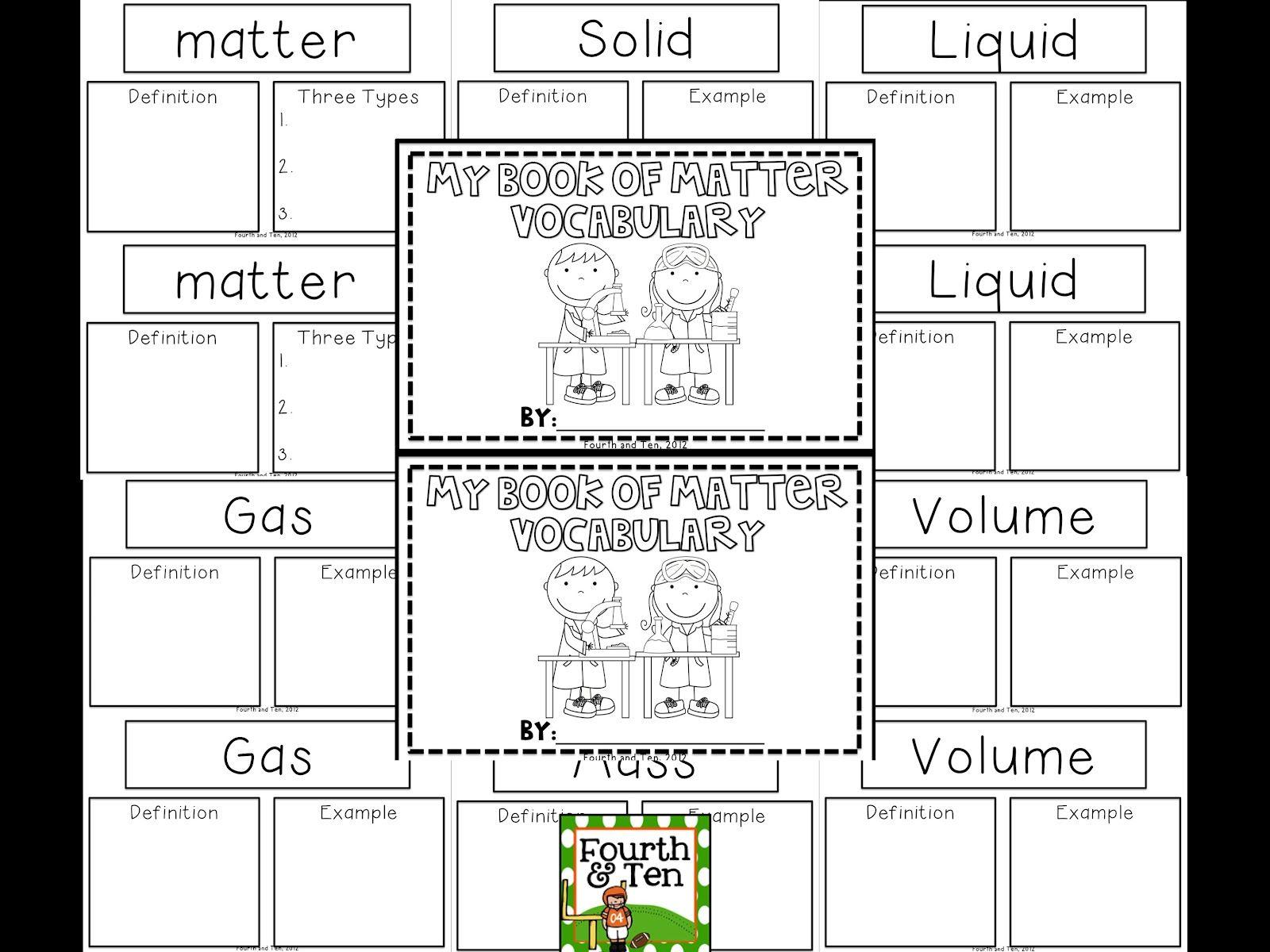 Matter Vocabulary Booklet Freebie