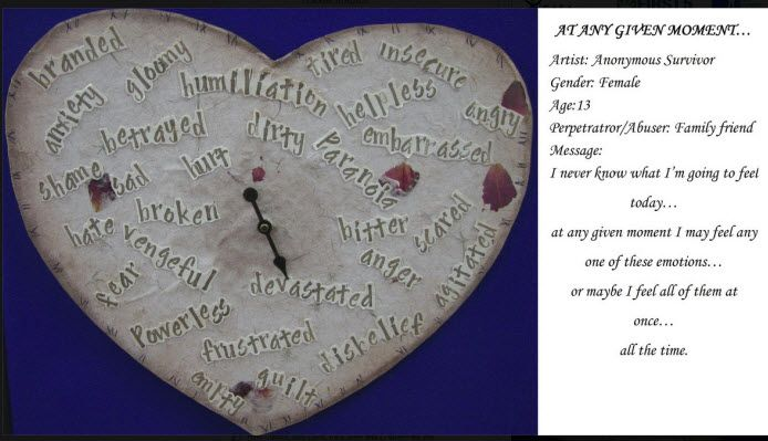 """In honor of Sexual Assault Awareness Month (SAAM) which is April, Family Services of Tulare County will be sharing one of our """"survivor hearts"""" each day - these hearts are created by survivors of sexual assault and abuse, and these have been displayed at our previous Art Shows."""