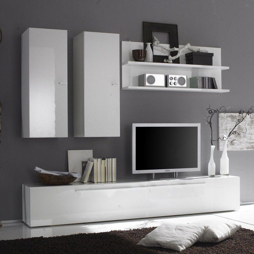 Uitgelezene Wandmeubel Hobro Hoogglans wit - Moderne tv meubels - Tv meubel ME-72