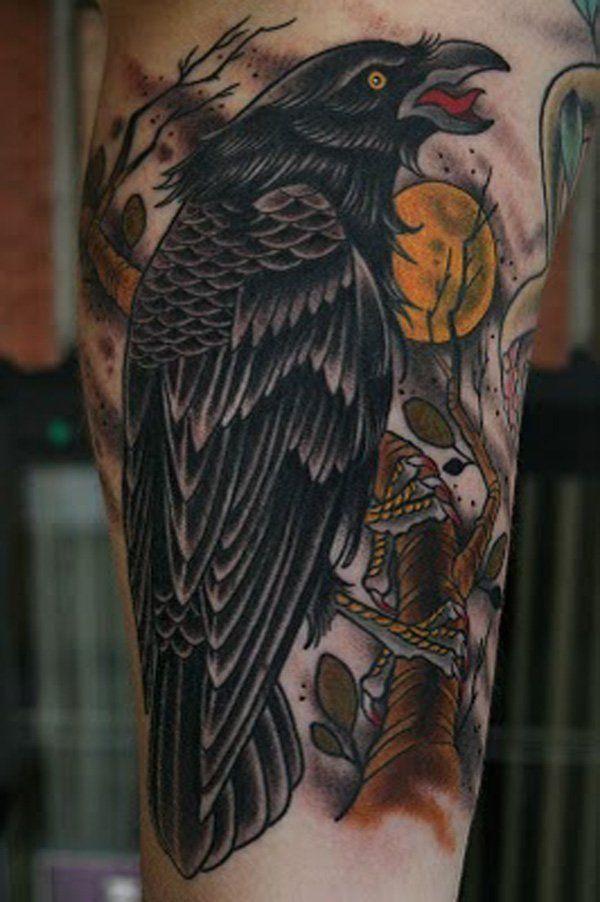 60 mysterious raven tattoos ravens tattoo and tatting. Black Bedroom Furniture Sets. Home Design Ideas