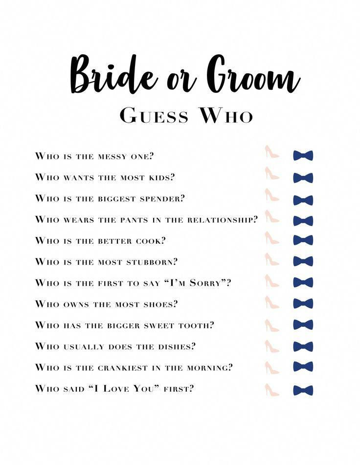Bachelorette Games Bridal Shower Know the Bride Bride and | Etsy