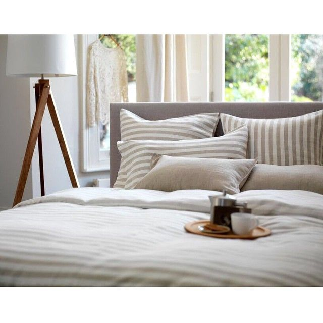A bright and breezy morning, fresh coffee and 100% cotton bedding... is there anything better? Secret Linen Store, Coastal Stripe Natural.