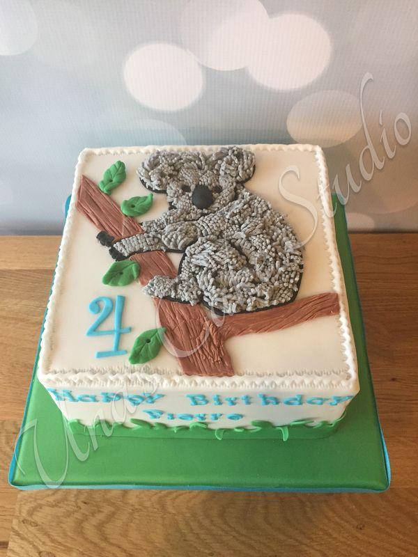 Astonishing Koala Bear Birthday Cake With Images Custom Birthday Cakes Funny Birthday Cards Online Hetedamsfinfo