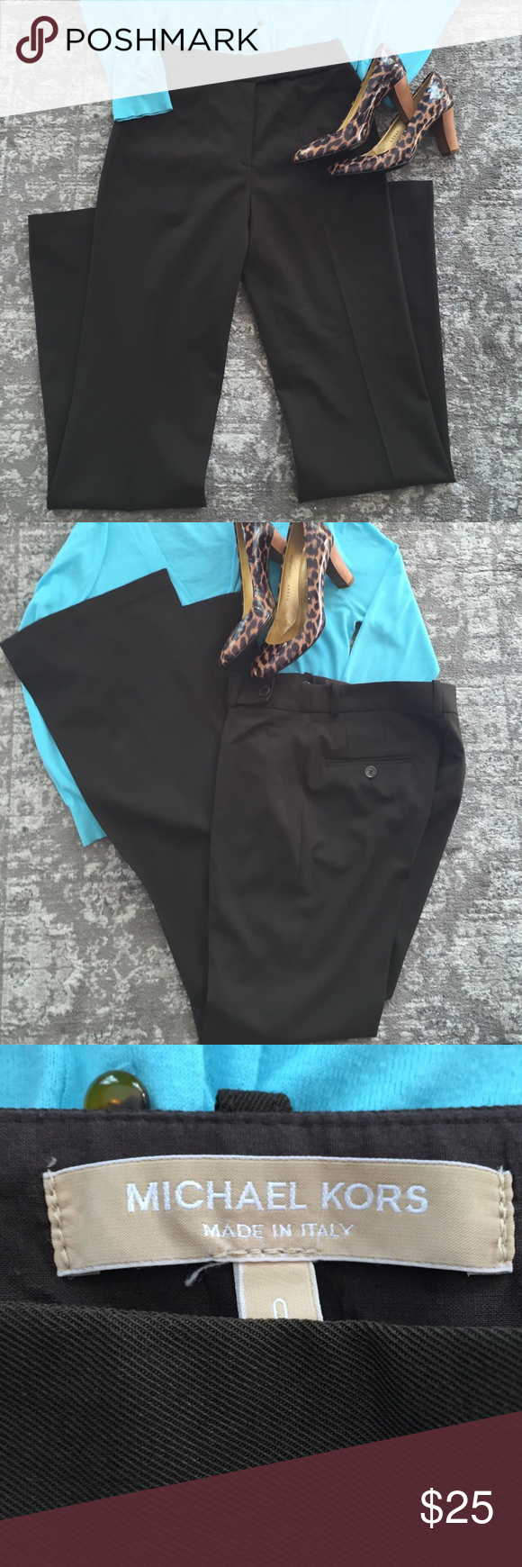 Michael Kors Trouser🌹 Perfect condition Michael Kors trouser. Waist 26 inches, rise approx 9 1/2 inches inseam 32 1/2 inches Flare width at hem 9 inches Michael Kors Pants Trousers
