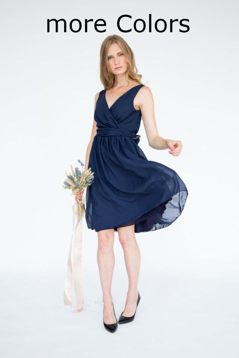 navy blue bridesmaid dress formal dress midnight blue chiffon