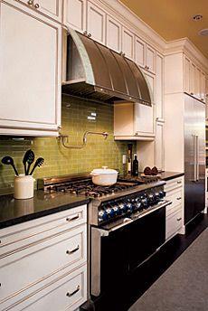 Salt pepper  moss green subway tile tiles white shaker cabinets also best new home kitchen images on pinterest dining rh