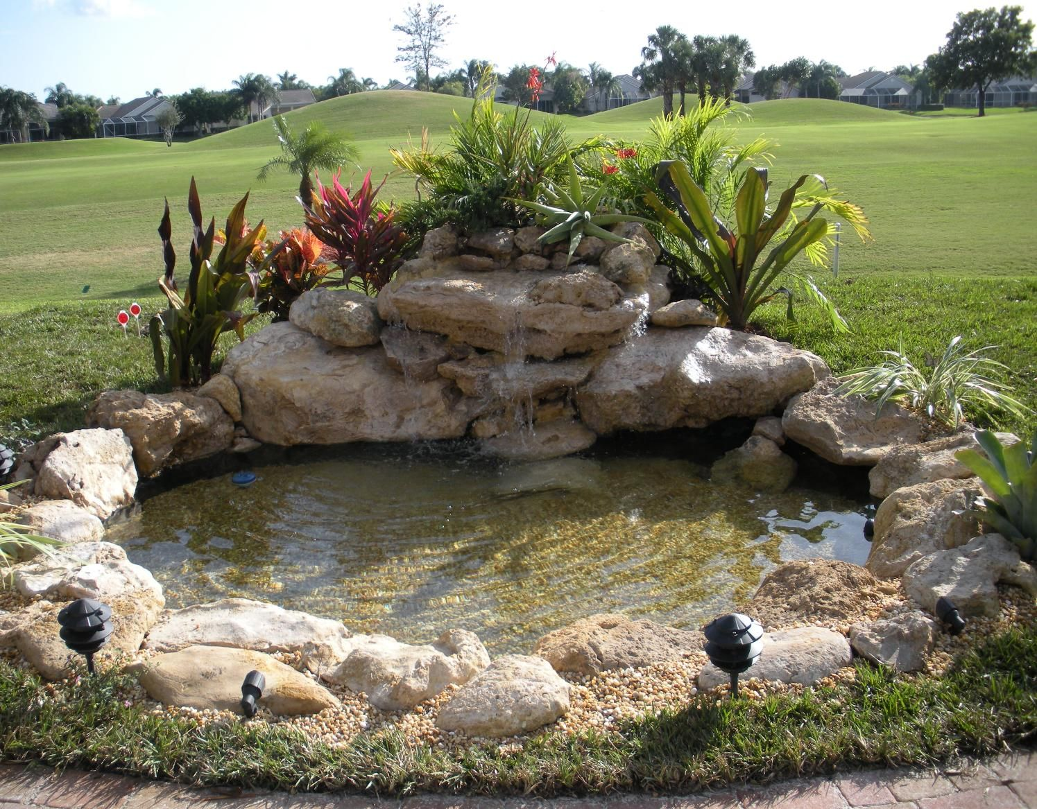 Landscaping waterfalls and fish ponds ways to maintain for Outdoor goldfish pond ideas