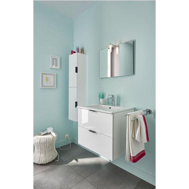 Meuble de salle de bains blanc 60 cm Noubé - CASTORAMA   SdB ...