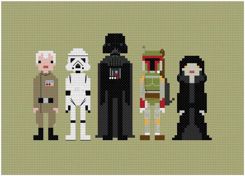 Pixel People - Star Wars - Enemies - PDF Cross stitch PATTERN. $5,00, via Etsy.