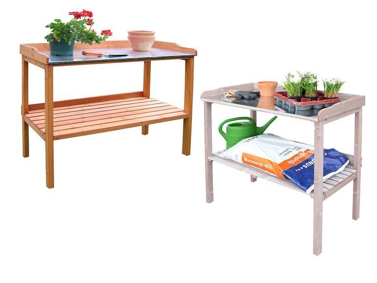 Habau Gartentisch Mit Verzinkter Arbeitsplatte 98 X 95 X 48 Cm Ablageflache Stabile Konstruktion Lidl De Arbeitsplatte Gartentisch Tisch