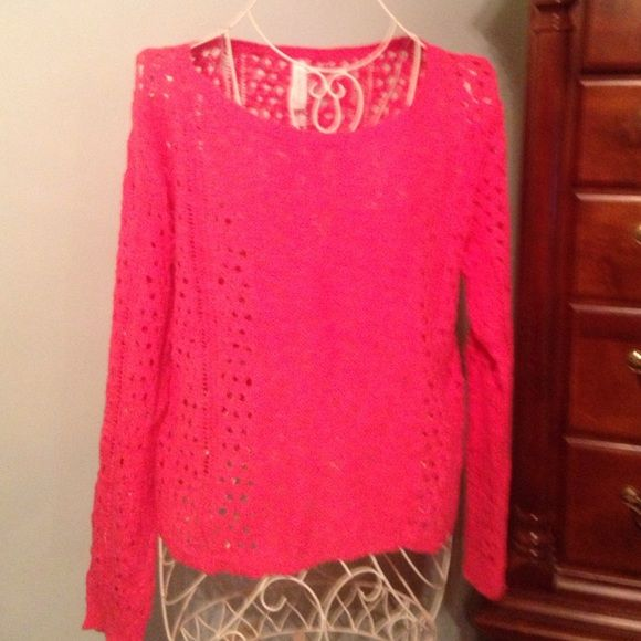Knit sweater Coral knit sweater.  Worn once.  Great condition. No stains.  Size medium Aeropostale Sweaters Crew & Scoop Necks