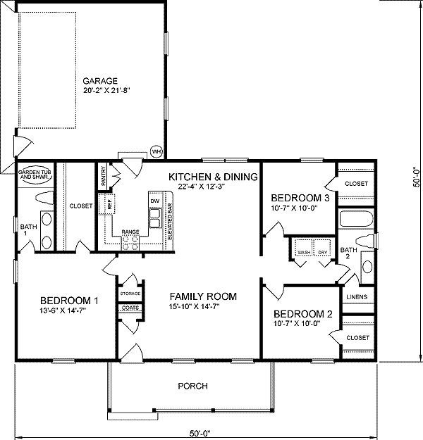 1400 Sq Ft Bungalow 3 Bedroom Floor Plan Google Search Country Style House Plans Country House Plans Ranch Style House Plans