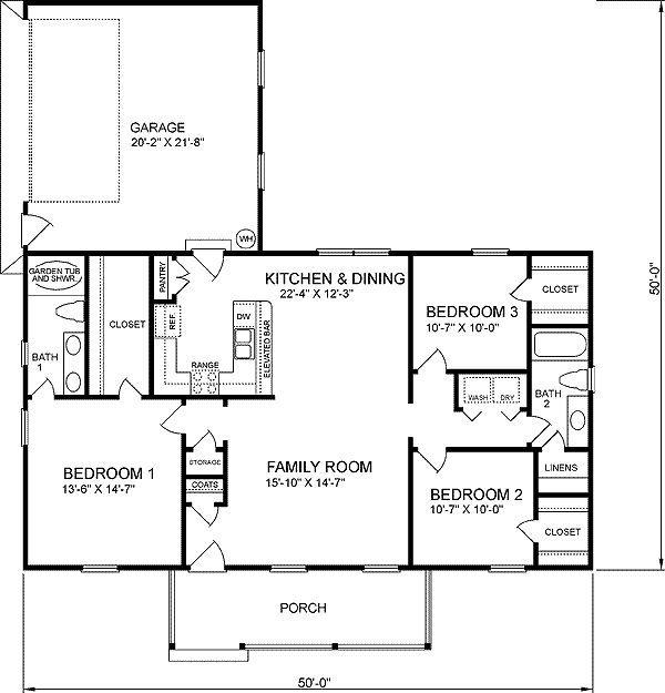 1400 Sq Ft Bungalow, 3 Bedroom Floor Plan