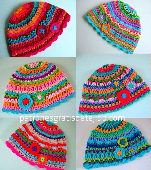 Gorros de crochet.¡Preciosos! | crochet | Pinterest | Cómo tejer ...