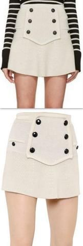 Cashmere & Wool Blend Knit Skirt With Buttons, Cream