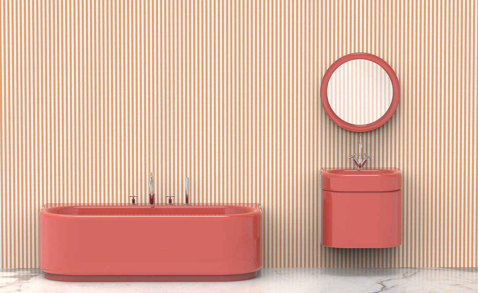 French Designer India Mahdavi Has Been Invited By Bisazza For A New Candy Hued Bathroom