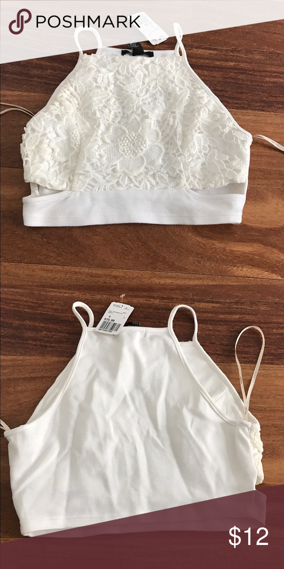 crop tanktop white lace cropped tank top with cutouts from forever 21. size small. new with tags! Forever 21 Tops Crop Tops