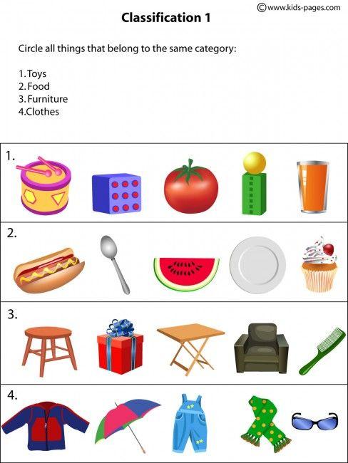 Classification1 Worksheet Worksheets For Kids Preschool Worksheets Kindergarten Worksheets Categorizing worksheets for 1st grade