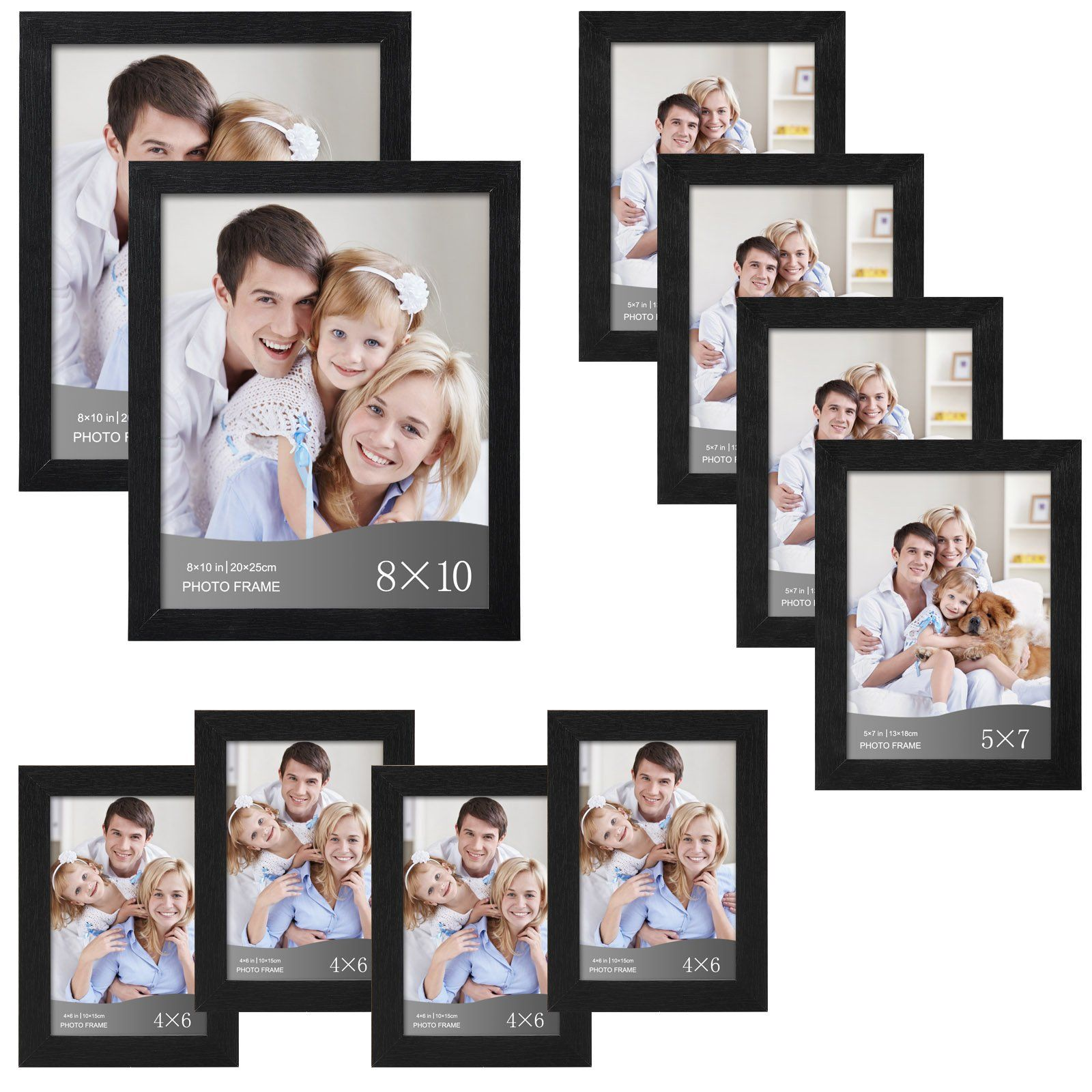 WOLTU 10 Piece Picture Frame Set DIY Gallery Art Wall Decor,Two 8x10 ...