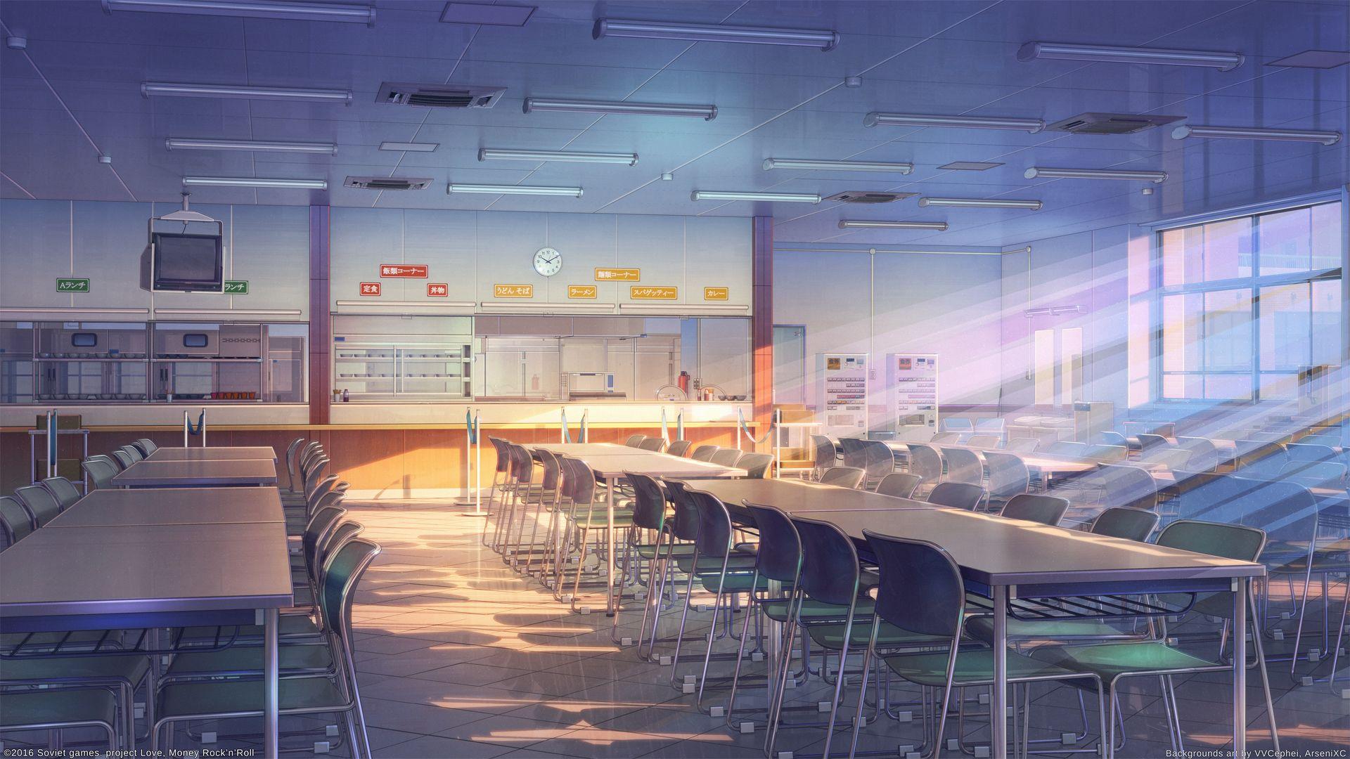 School cafeteria by arsenixc on DeviantArt アニメの風景, 学校
