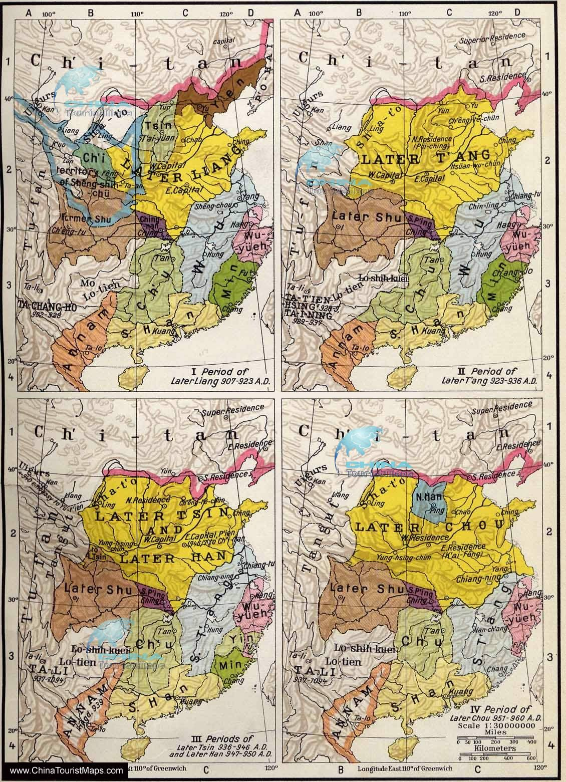 Maps Of The Five Dynasties And Ten Kingdomsve Dynasties