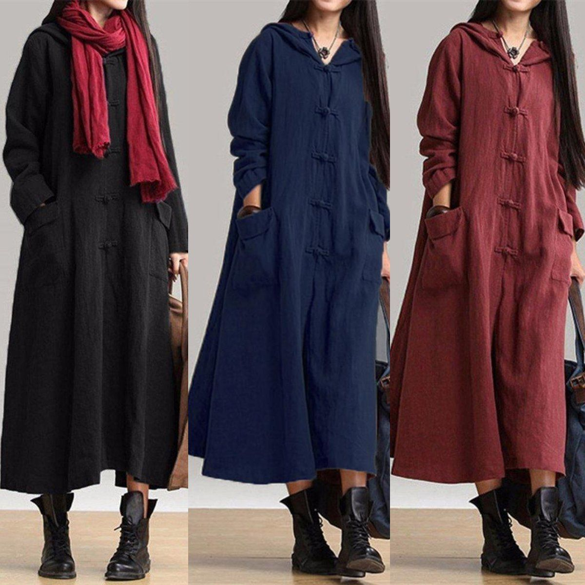 Vintage plate buckles long sleeve hooded maxi dresses fall and