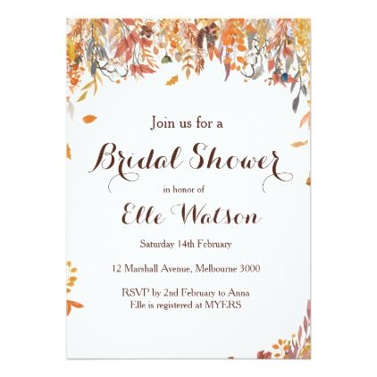 62def99a0598 Autumn Fall Floral Chic Bridal Shower Invitation - bridal shower gifts ideas  wedding bride