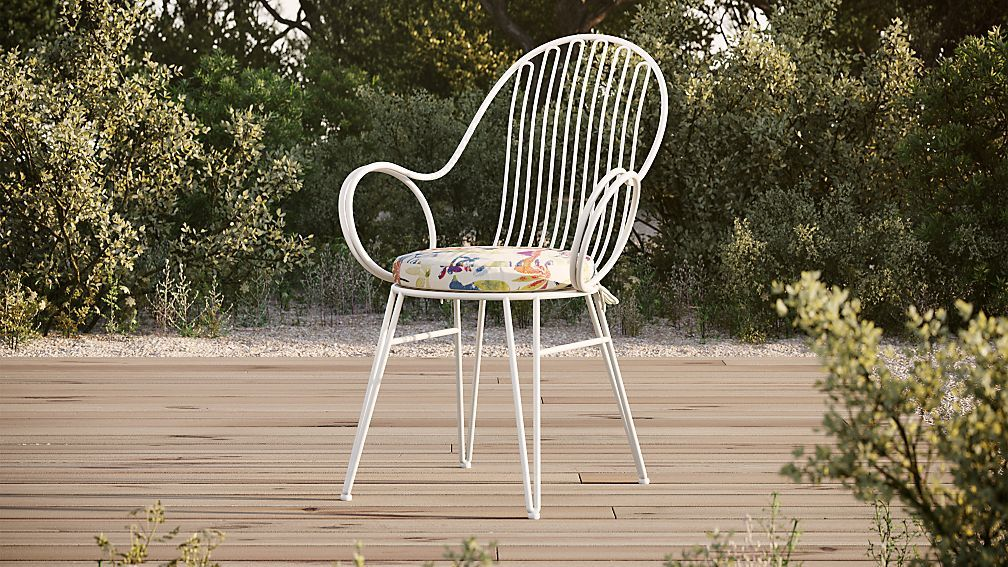 scroll white metal outdoor dining chair