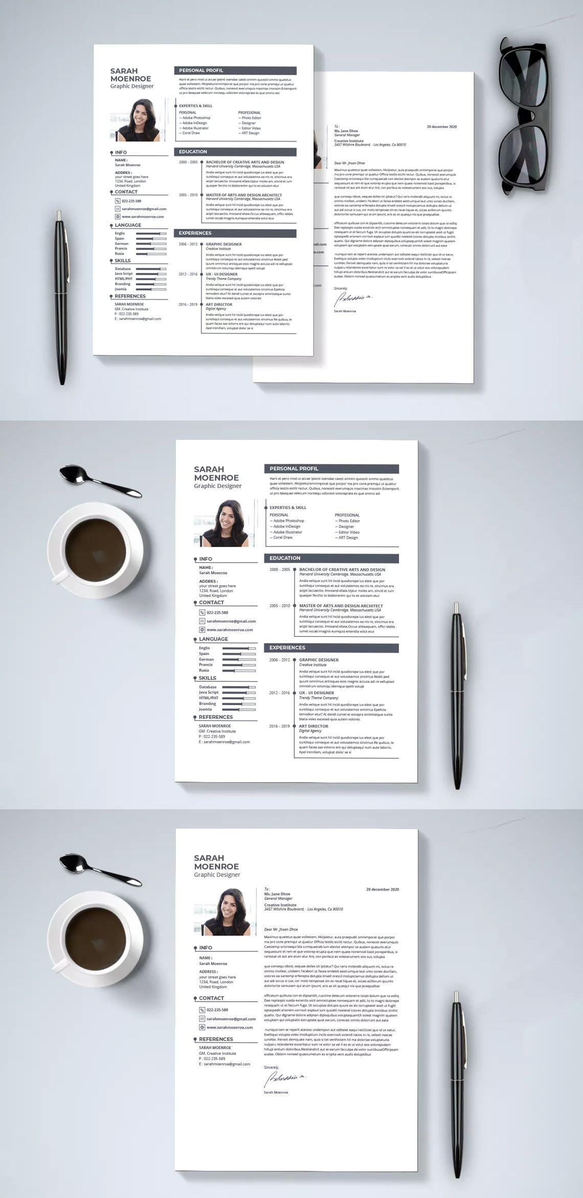 Minimal Resume Cover Letter Template InDesign INDD