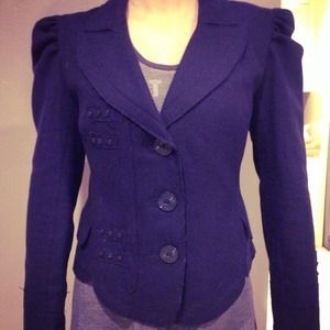 Beyond Vintage Jackets & Blazers - Beyond Vintage navy wool fitted detailed blazer