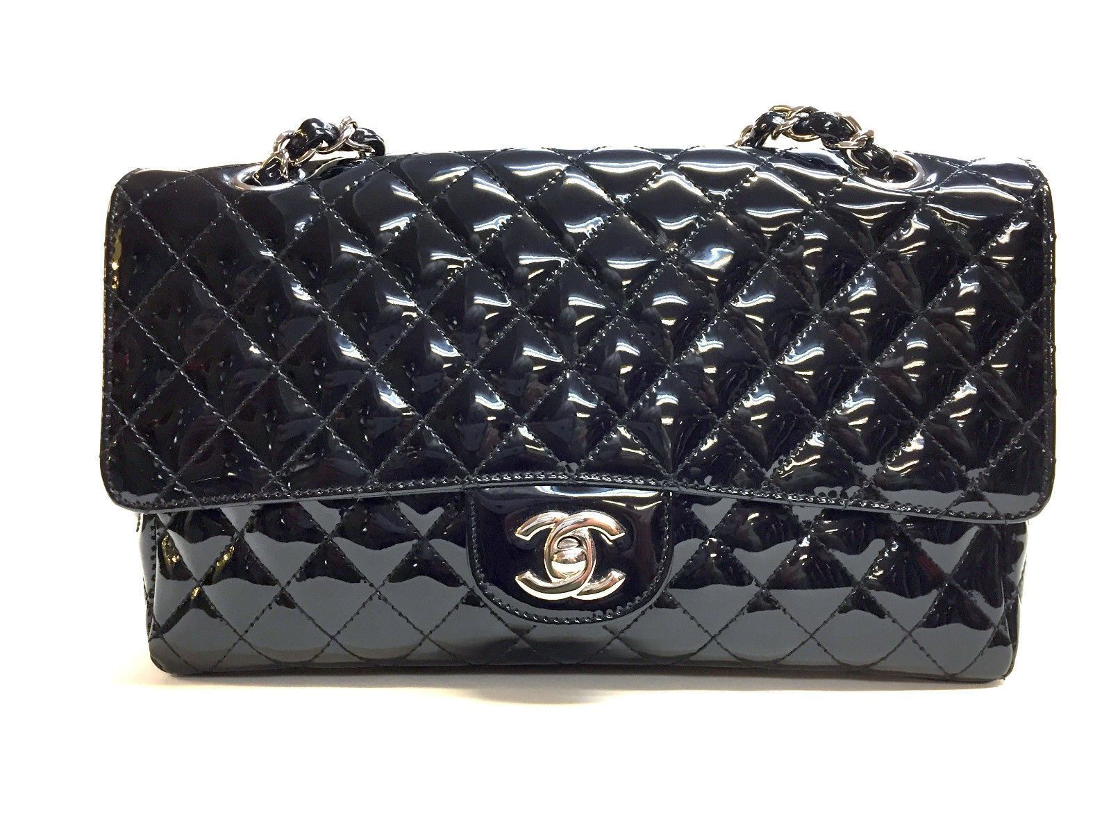 CHANEL Black Patent Leather Single Flap SHW Classic